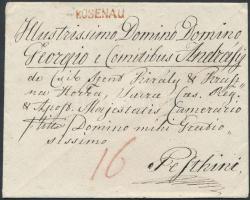 ca. 1840 Portós levél / cover with postage due piros / red ROSENAU - Pesthini
