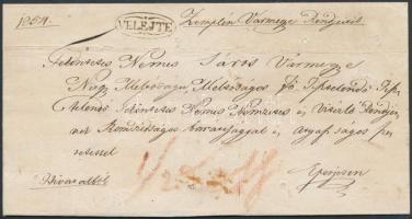 1831 Ex offo kolera levél, fertőtlenített / disinfected cholera cover VELEJTE - Eperjes