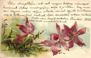 Flower, Emb. litho, Virág, dombornyomott, litho