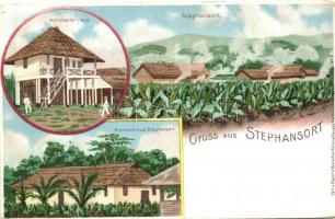 Stephansort, Krankenhaus, Assistenten-Haus / Hospital, German colonial postcard, litho