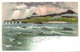 Victoria am Kamerunberg, German colonial postcard, litho
