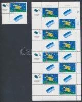 TEVEL National stamp exhibition corner set with tab and coupon + mini sheet, TEVEL nemzeti bélyegkiállítás szelvényes tabos ívsarki bélyeg + kisív