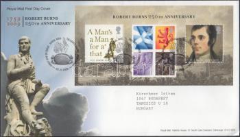 2009 Robert Burns 250. születésnapja blokk Mi 48 FDC-n