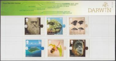 2009 Charles Darwin 200. születésnapja sor öntapadós bélyegekkel Mi 2707-2712 + blokk 49 díszcsomagolásban