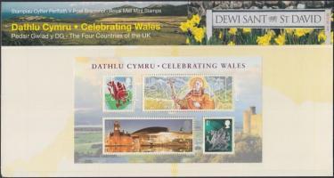 Wales 2009 Nemzeti ünnep blokk Mi 2 díszcsomagolásban