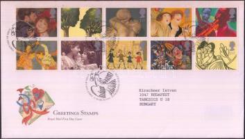 1995 Üdvözlő bélyegek tizestömb Mi 1554-1563 FDC-n