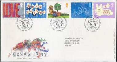 2002 Üdvözlőbélyegek sor Mi 1988-1992 FDC-n