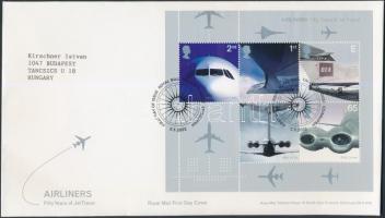 2002 Szállítás (II): Kereskedelmi használatú sugárhajtású repülőgépek blokk Mi 13 FDC-n