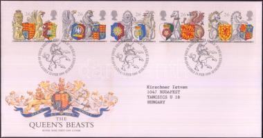 1998 650 éves a Térdszalagrend: Címer állatok és pajzsok ötöscsík Mi 1734-1738 FDC-n