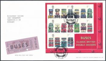 2001 Emeletes buszok blokk Mi 11 FDC-n