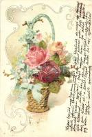 Flower basket litho, Virágkosár, litho