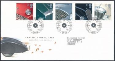 1996 Brit autók sor Mi 1657-1661 FDC-n