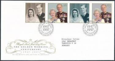 1997 A királyi pár aranylakodalma sor Mi 1719-1722 FDC-n