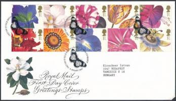 1997 Üdvözlő bélyegek: Virágok tizestömb Mi 1667-1676 FDC-n