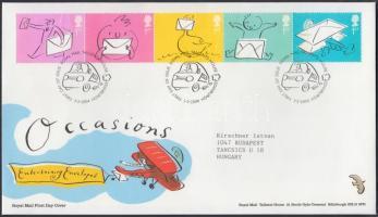 2004 Üdvözlő bélyegek: boríték ötöscsík Mi 2180-2184 FDC-n
