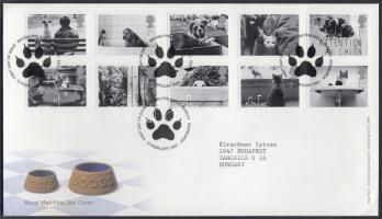 2001 Kutyák és macskák sor Mi 1914-1923 FDC-n
