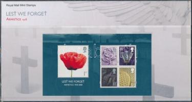 90th anniversary of the End of World War I block in decorative holder, 90 éve ért véget az I. világháború blokk díszcsomagolásban