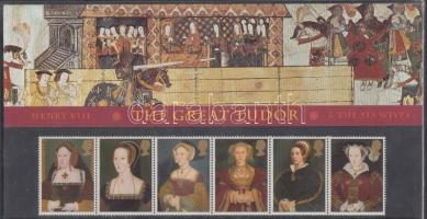 1997 450 éve halt meg VIII. Henrik: VIII. Henrik és hat felesége sor hatos csíkkal Mi 1677-1683 díszcsomagolásban