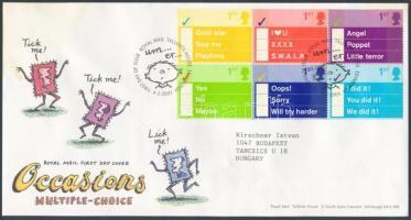 2003 Üdvözlő bélyegek: Rövid üzenetek hatostömb Mi 2080-2085 FDC-n