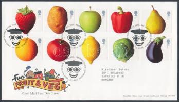 2003 Zöldségek és gyümölcsök öntapadós sor Mi 2092-2101 FDC-n