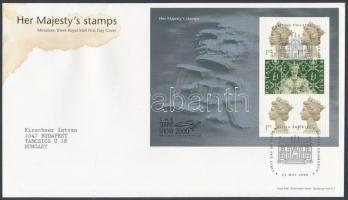 2000 2000 Stamp show London bélyegkiállítás kisív Mi 1871, 1843 FDC-n