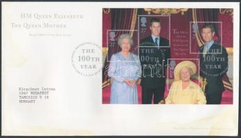 2000 Erzsébet anyakirálynő 100 éves blokk Mi 9 FDC-n