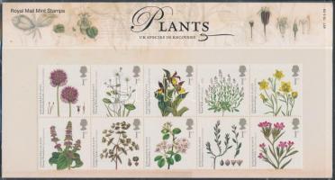 Endangered plants block of 10 in decorative holder, Veszélyeztetett növények tizestömb díszcsomagolásban