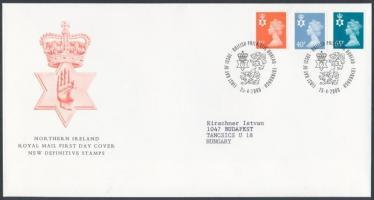 Észak Írország 2009 Forgalmi bélyeg sor Mi 78-80 FDC-n