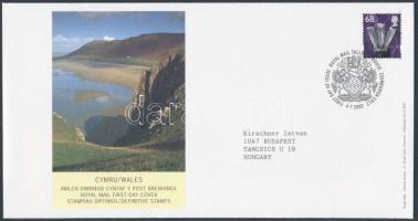 Wales Definitive stamp on FDC, Wales Forgalmi bélyeg FDC-n