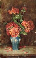 Flower, Serie 233. 6. Dess. artist signed, Virágcsendélet, Serie 233. 6. Dess., művész aláírásával