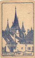 Brassó, Kronstadt; Katalin kapu / gate, artist signed (fa)