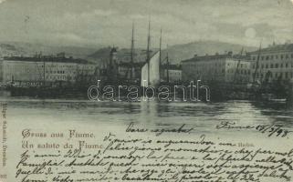 1898 Fiume, port, night