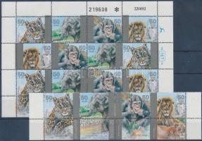 Zoo corner stripe of 4 with tab + whole sheet, Állatkert ívsarki tabos négyescsík + teljes ív
