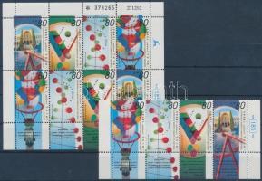 Museum exhibitions laws of physics corner stripe of 4 with tab + mini sheet, Múzeumi kiállítások a fizika törvényeiről ívsarki tabos négyescsík + kisív