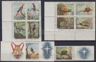 1961 Madarak és csigák 10é ívsarki 4-es tömbökben és ívszéli szelvényes csíkokban Mi 731-740