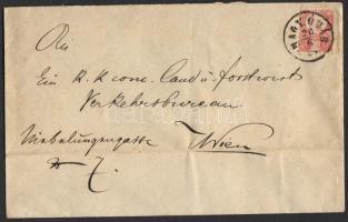 1874 Réznyomat 5kr levélen MAGY.ÓVÁR - WIEN (hátoldalán mezőgazdaság oktatási intézet levélzáróval)