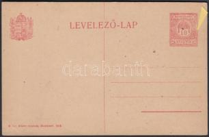 1918 Használatlan díjjegyes levelezőlap lemezhibával