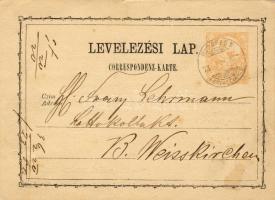 1873 Díjjegyes levelezőlap BUDAPEST FERENCZVÁROS-B.Weisskirchen