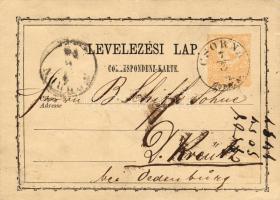 1874 Díjjegyes levelezőlap CSORNA SOPR M.-SOPRON-NÉMET-KERESZTÚR SOPR. M