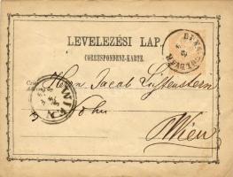 1874 Díjjegyes levelezőlap DUNA-FÖLDVÁR-WIEN