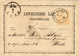 1872 Díjjegyes levelezőlap SZEGSZÁRD-PEST