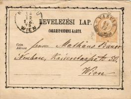 1873 Díjjegyes levelezőlap / PS-card VASVÁR - NEUBAU WIEN