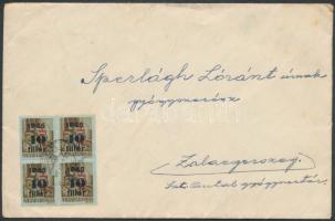 1946 (8. díjszabás) Távolsági levél Betűs I.-II. 20xTl.l./10f + 4xHl.2/40f bérmentesítéssel