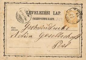 1873 Díjjegyes levelezőlap MEZŐTÚR KÜL. SZOLNOK M - BUDAPEST FŐPOSTA