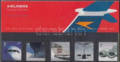 Airlines 50 Years of Jet Travel set in holder, Szállítás (II): Kereskedelmi használatú sugárhajtású repülőgépek sor díszcsomagolásban