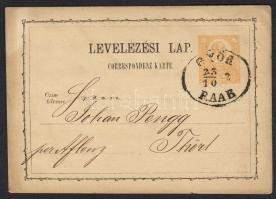 1872 Díjjegyes levelezőlap GYŐR RAAB - Thörl
