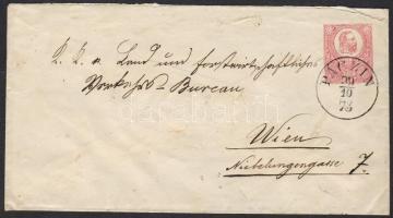 1873 5kr díjjegyes boríték / 5kr PS-cover PÁCZIN - WIEN