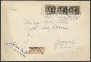 1945 (2.díjszabás) Ajánlott távolsági levél Kisegítő (II) 3x10P/80f bérmentesítéssel / Registered domestic cover with 30P franking