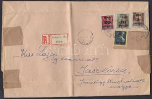 1945 (3.díjszabás) Ajánlott távolsági nagyméretű levél 2. súlykategóriában Kisegítő (II) 4 klf bélyeggel (35P) bérmentesítve (hajtott)