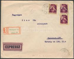 1945 (2.díjszabás) Ajánlott expressz helyi levél tartalommal Kisegítő (I) 3x5P/5P bérmentesítéssel, 2P-vel alul bérmentesítve / Express registered local cover